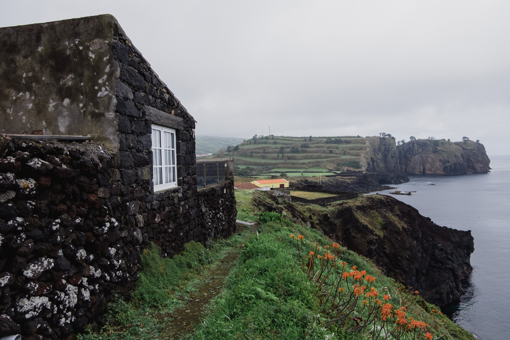 Sea cliffs at Capelas, Sao Miguel, Azores